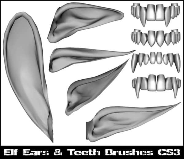 精灵耳朵、牙齿Photoshop笔刷素材