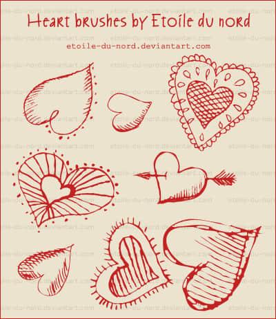 手绘爱情爱心涂鸦符号Photoshop笔刷素材