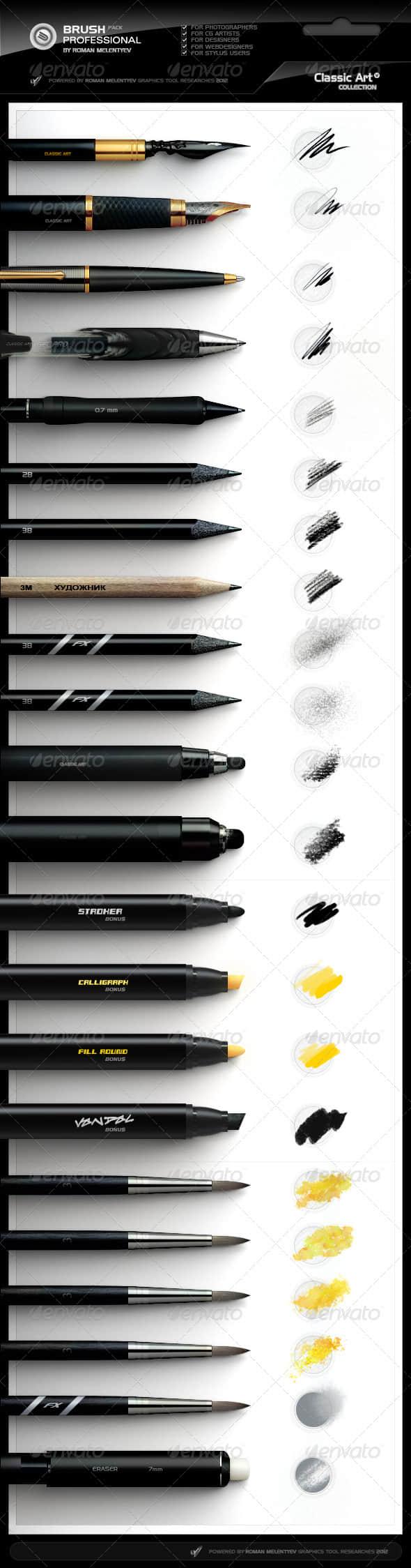 多种高级笔触效果套装Photoshop笔刷免费下载
