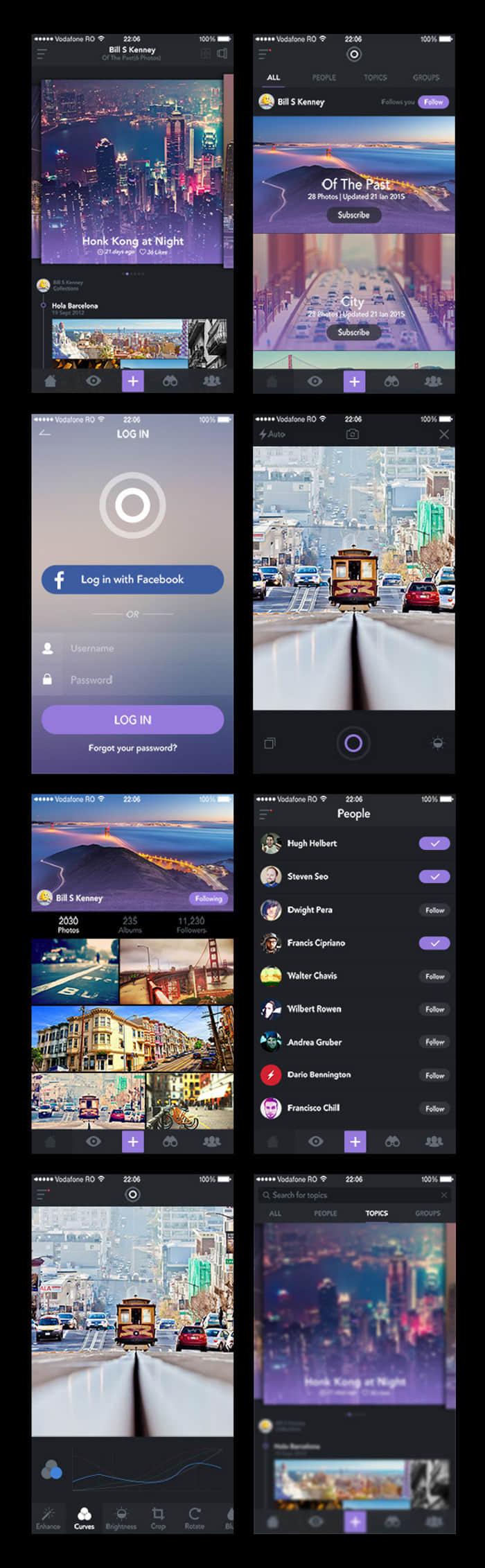 酷黑紫色调手机照片程序App UI界面设计分享PSD源文件下载