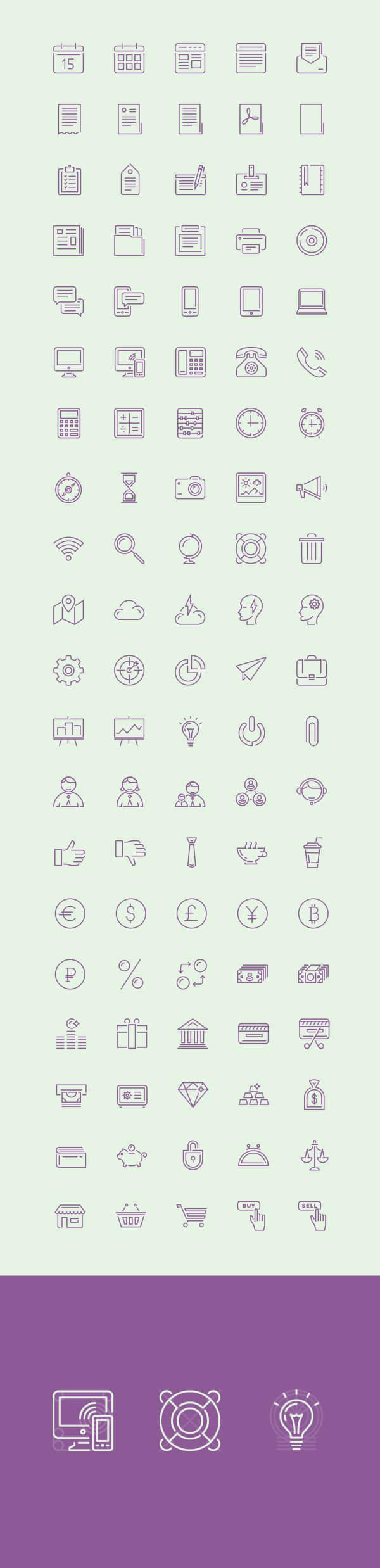 一组简洁漂亮的生活办公图标素材下载