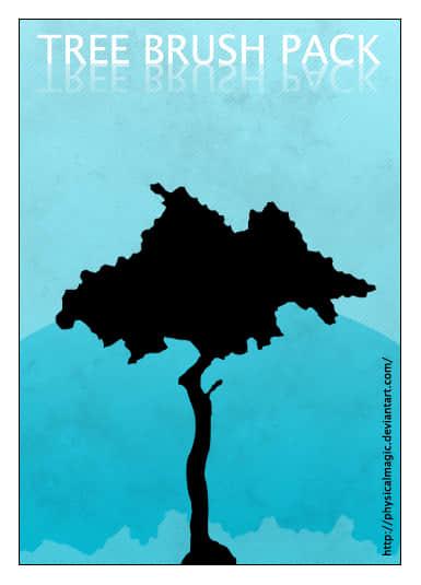 各种树木剪影、阴影图形Photoshop笔刷