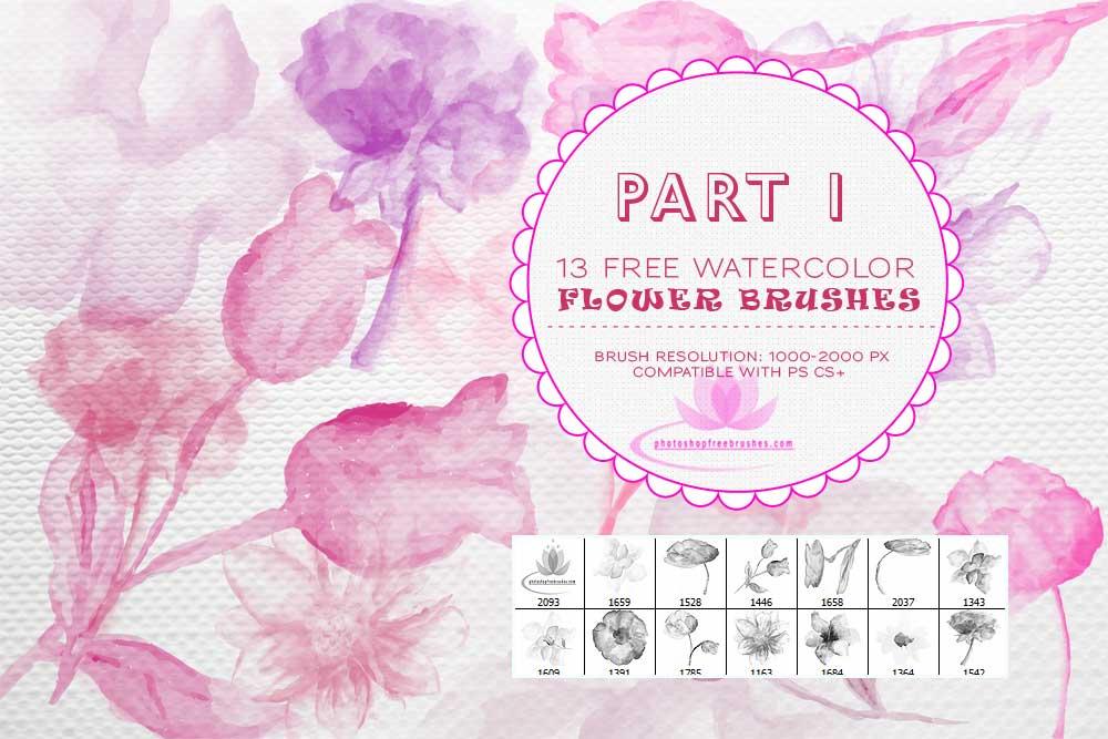 13种水彩、水粉花卉、鲜花绘画图形Photoshop笔刷 #.1
