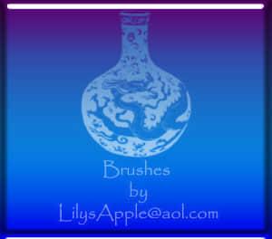 中国青花瓷瓶图案PS笔刷素材