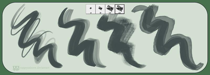 4个简单的艺术绘画笔触素材Photoshop笔刷下载