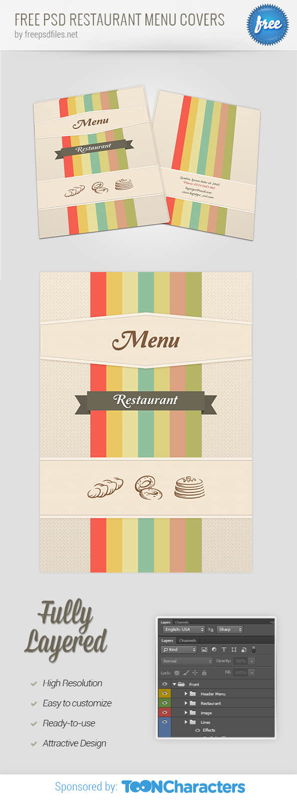 时尚靓丽菜单封面PSD设计素材文件下载