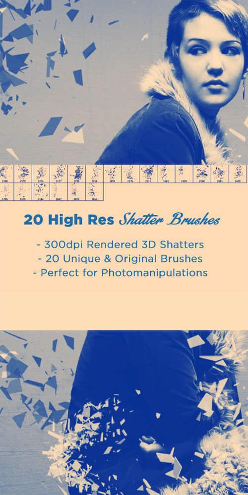 20种破碎效果、玻璃碎片、破裂效果PS笔刷