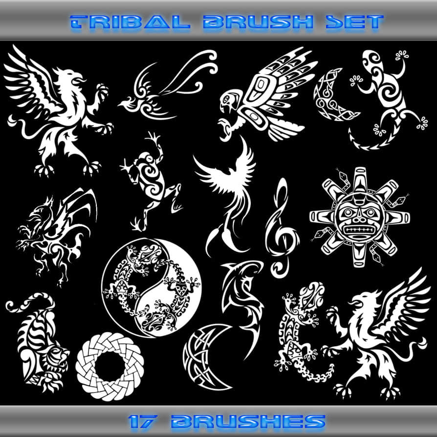 神秘部落图腾徽章刺青、纹饰、纹身图案Photoshop笔刷下载