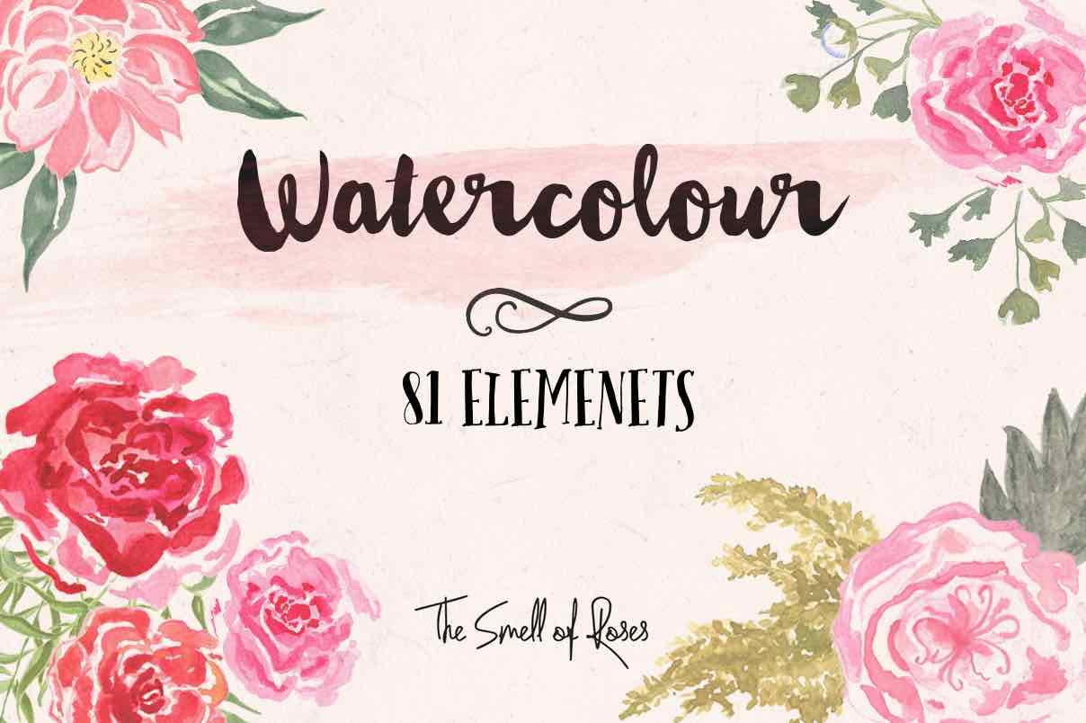 漂亮的水彩花朵、鲜花图案Photoshop笔刷素材包