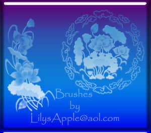 中国荷花、花朵图案Photoshop笔刷素材