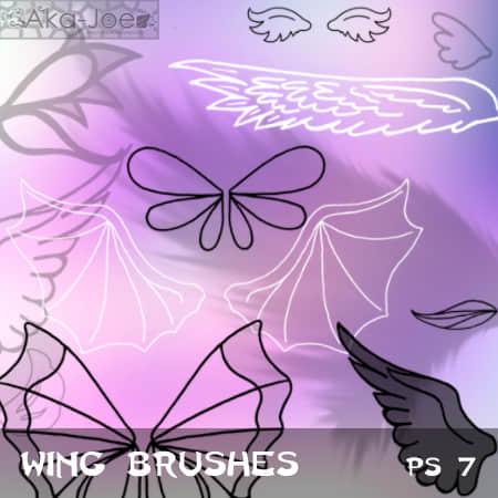 手绘卡通翅膀、蝙蝠翅膀、天使翅膀、蝴蝶翅膀Photoshop笔刷