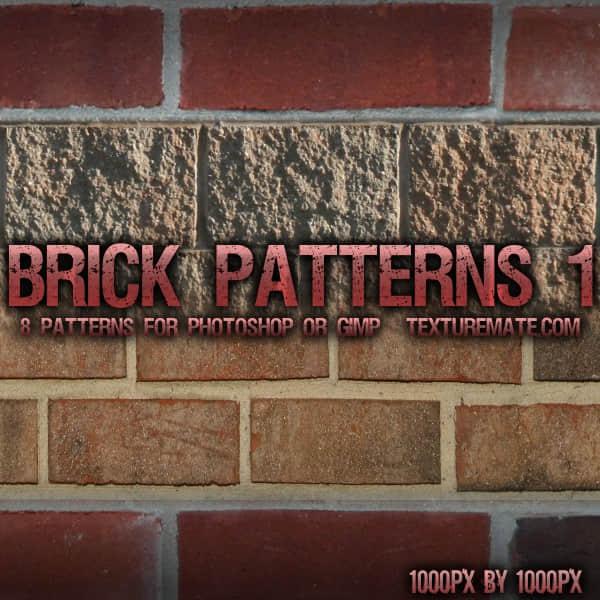8种墙砖、水泥墙面纹理Photoshop填充图案底纹素材 Patterns 下载