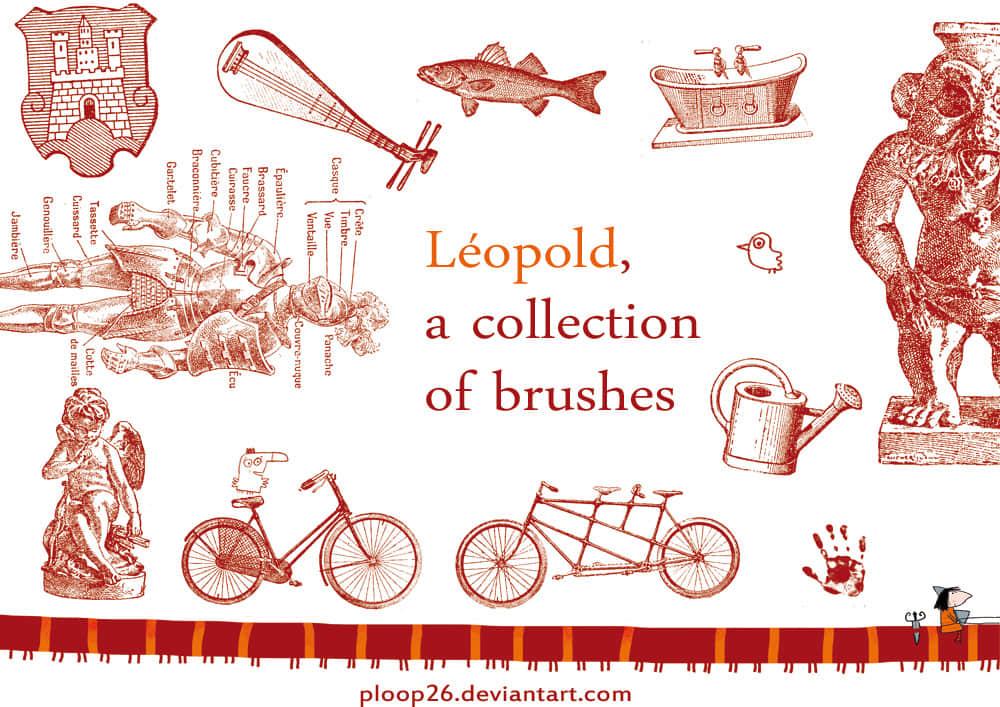 手绘徽章、鱼、浴缸、自行车、雕塑等卡通造型PS笔刷