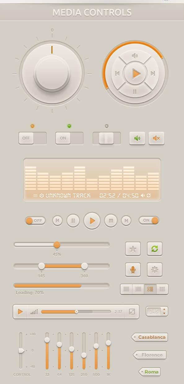 一套多媒体音乐播放器UI设计效果PSD素材下载