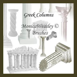 罗马柱、古希腊建筑场景Photoshop笔刷素材