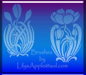 漂亮的植物鲜花花纹图案、印花纹饰Photoshop笔刷