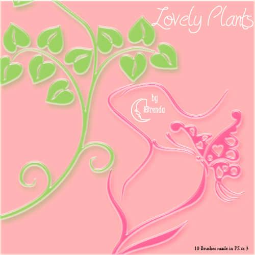 水晶植物藤蔓装饰花纹Photoshop笔刷