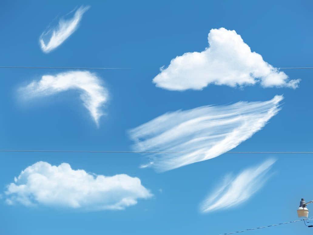 漂亮的梦幻天空云彩、白云Photoshop笔刷素材下载