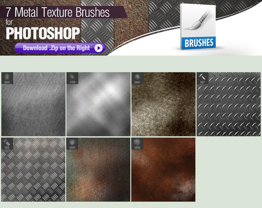 7种金属表面纹理材质Photoshop笔刷素材下载