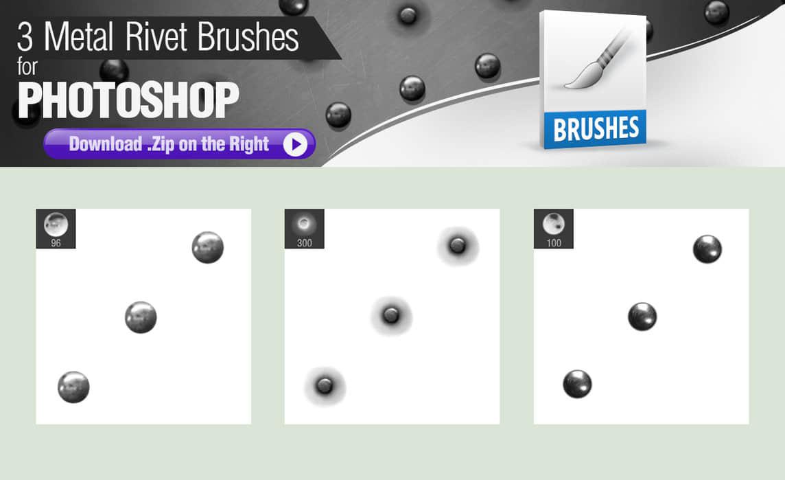 3种金属铆钉、钉子效果Photoshop笔刷下载