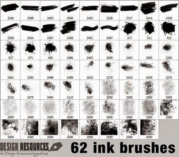 超大# 62种水墨痕迹、油墨刷子、喷溅效果Photoshop笔刷下载