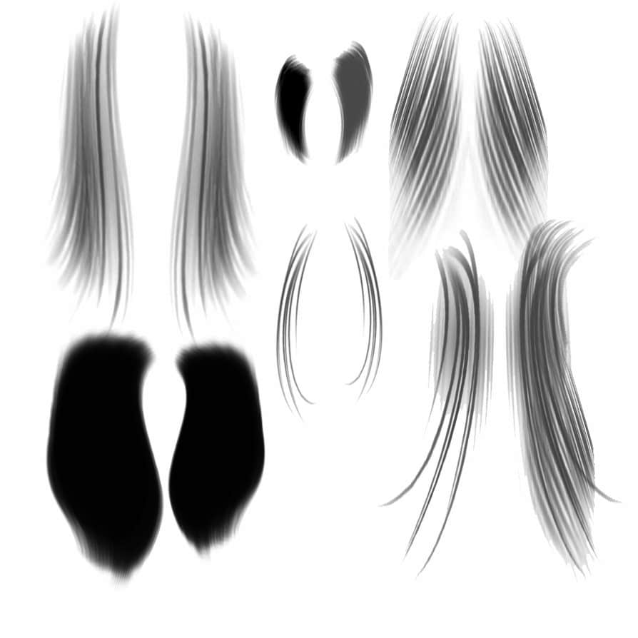 CG手绘式发型、女士长发Photoshop笔刷