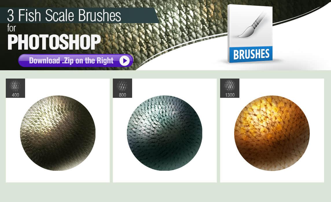 3种鱼鳞皮肤、鳞片纹理、皮肤材质Photoshop笔刷素材 鳞片笔刷 鱼鳞笔刷 纹理笔刷 皮肤笔刷  other brushes
