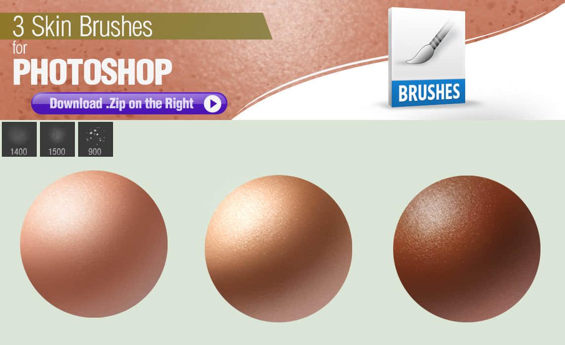 3种人造皮肤纹理PS肌肤材质笔刷