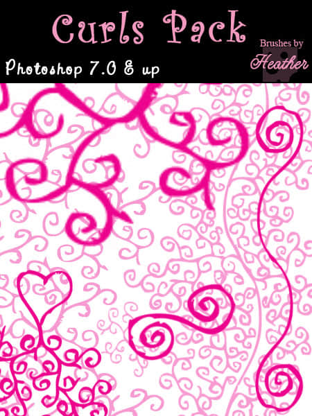 随意卷曲线条花纹Photoshop涂鸦笔刷