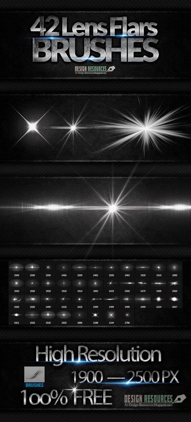 42种超级光影特效、灯光、闪光、光照射灯效果PS笔刷下载 闪光笔刷 光照笔刷  light brushes