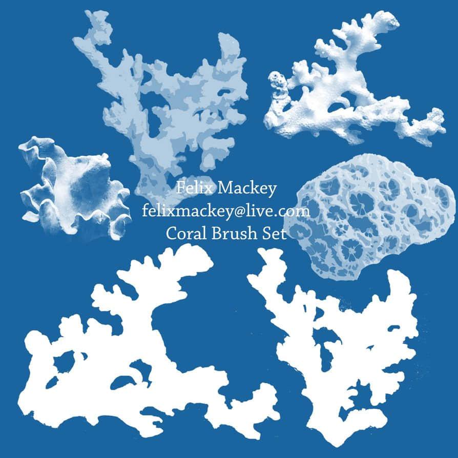 海洋珊瑚Photoshop笔刷素材