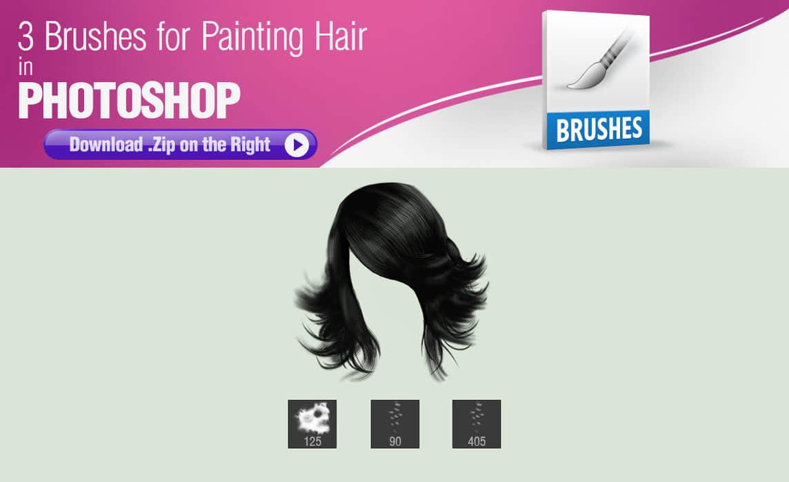 3种手绘毛发、头发PS笔刷素材下载