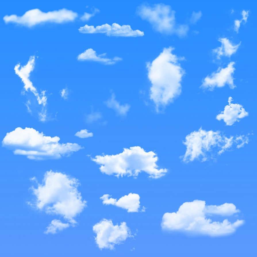高级云朵效果、云彩套装Photoshop笔刷素材免费下载