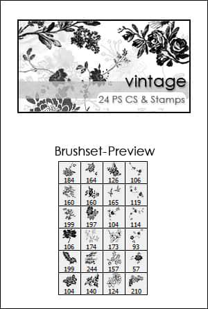 漂亮的鲜花刺绣图案Photoshop笔刷