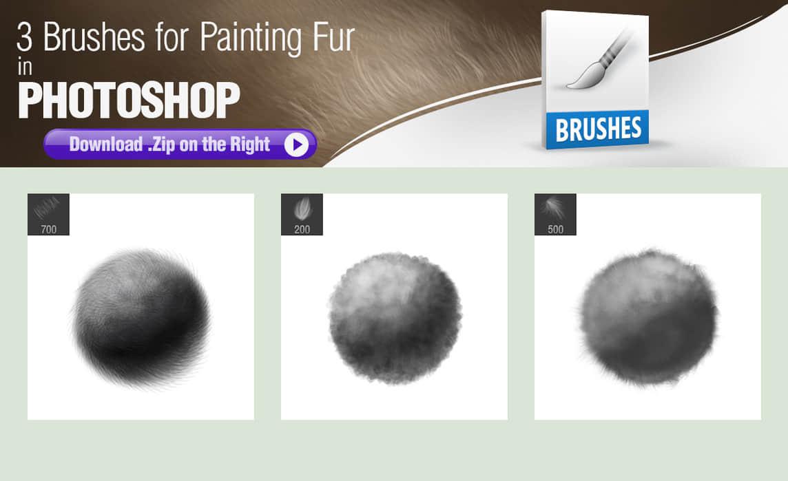 3种专门画皮毛、毛发效果的Photoshop笔刷笔触
