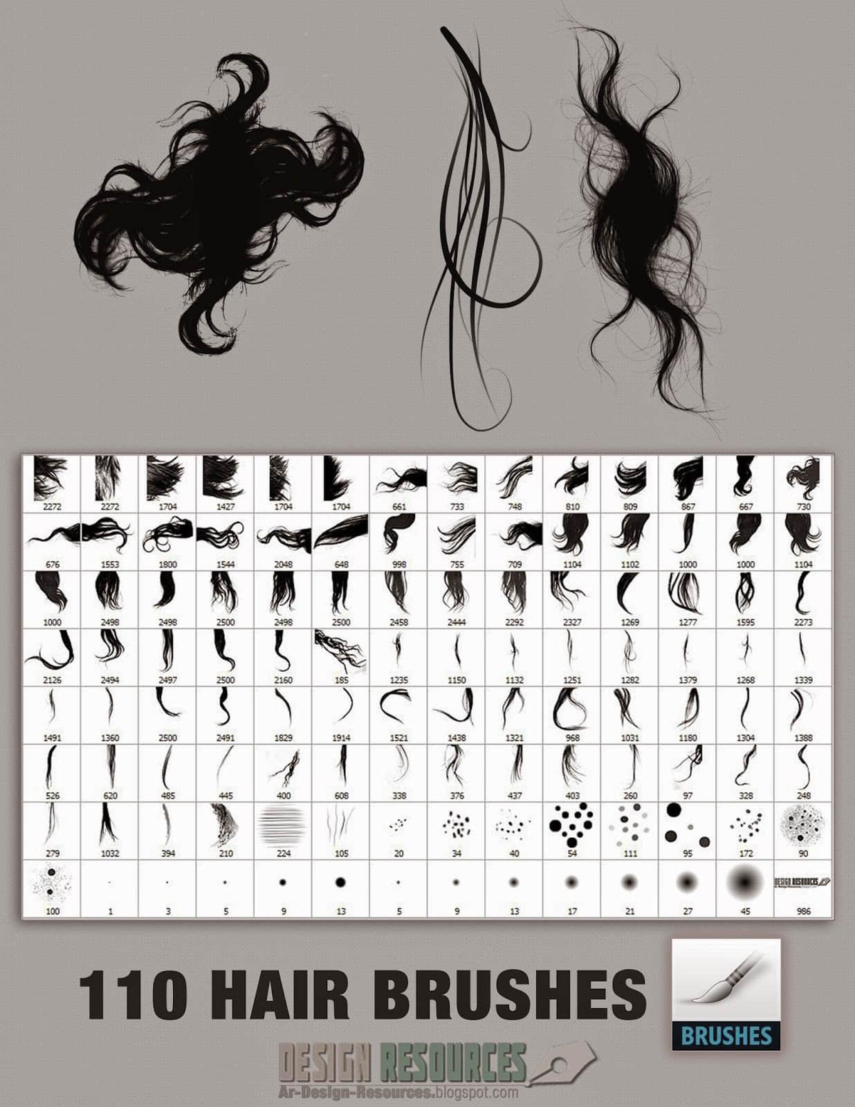110种超级毛发、头发、发丝PS笔刷素材