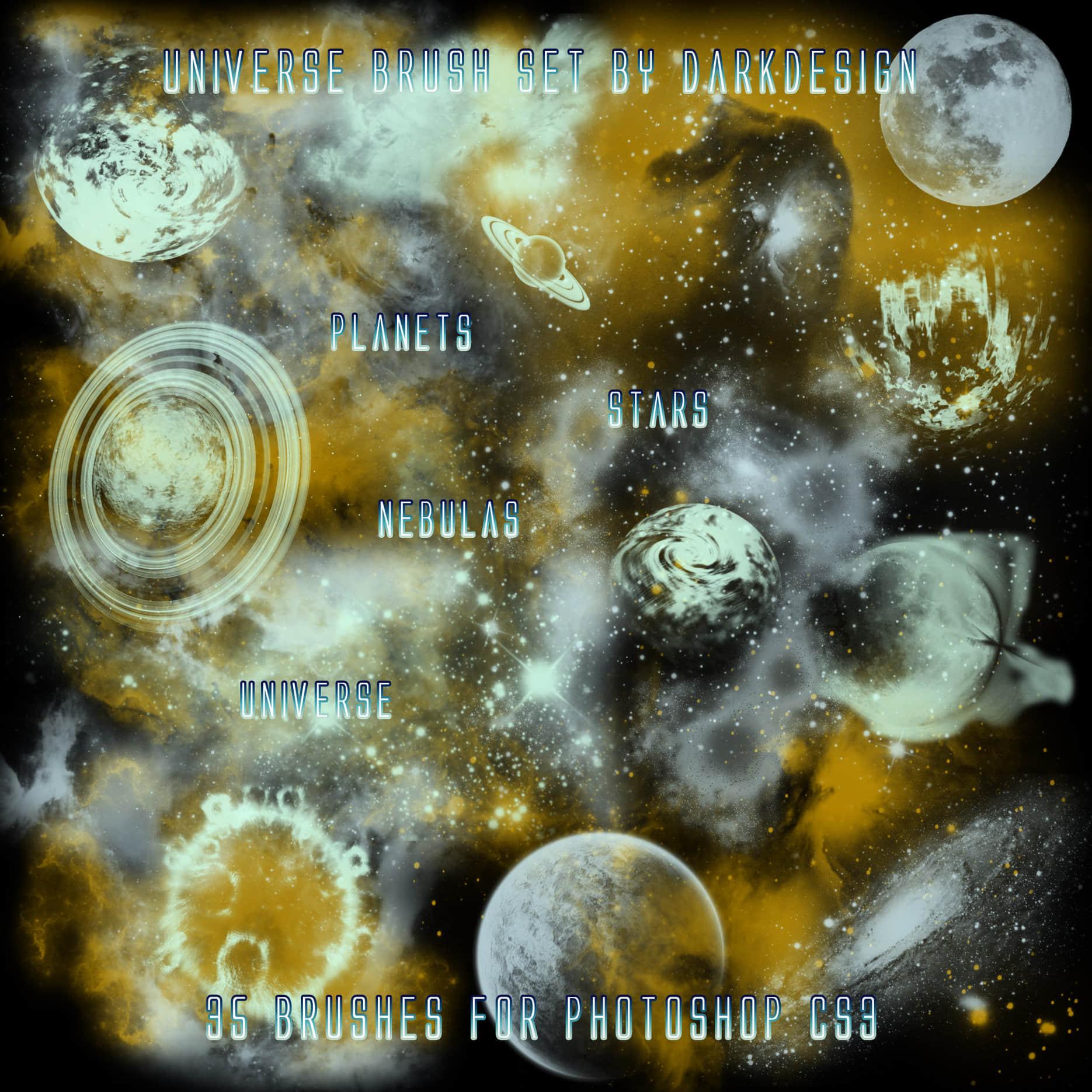 宇宙星空、星球、月球Photoshop笔刷