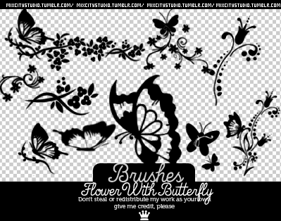 漂亮的剪纸效果蝴蝶花纹图案PS笔刷