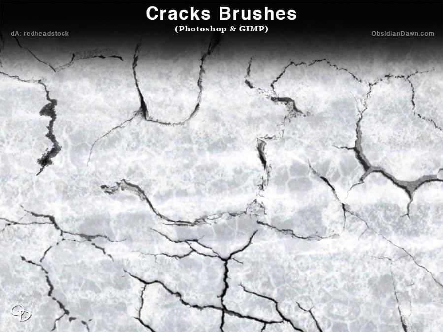 土地裂缝、干涸开裂纹理Photoshop笔刷素材