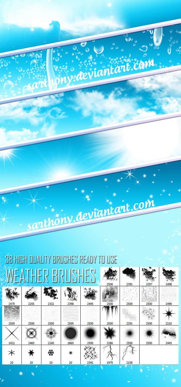 38种复合太阳、星星、云、闪电、冰柱、雪花、雨等PS笔刷 星星笔刷 星光笔刷 太阳笔刷 天气笔刷 复合笔刷 冰凌笔刷 云彩笔刷  lightning brushes water brushes cloud brushes