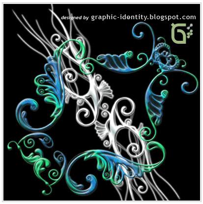 漂亮纹饰蝴蝶花纹图案PS笔刷