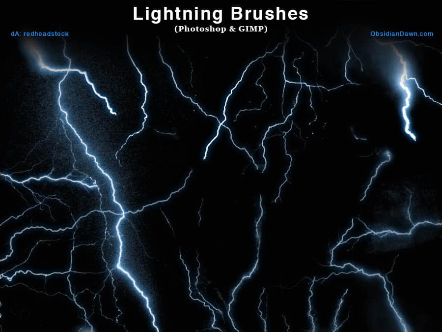 真实闪电Photoshop笔刷素材下载 雷电笔刷  lightning brushes