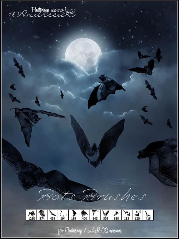 飞行的蝙蝠造型Photoshop笔刷素材