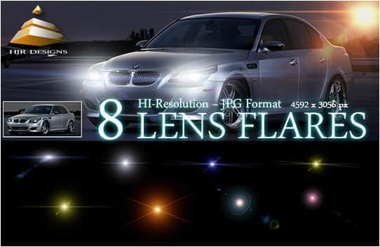 8种光晕、灯光效果Photoshop笔刷下载(图片素材)