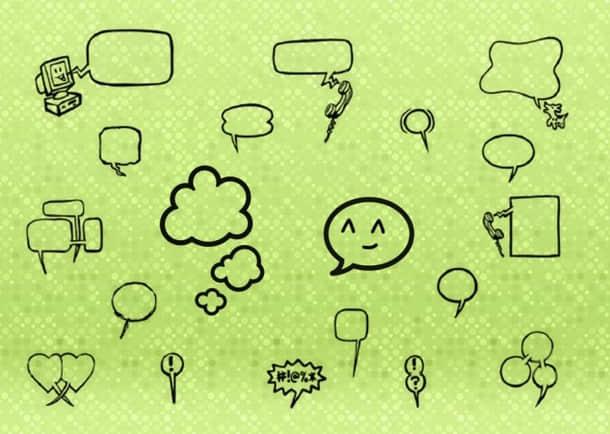 手绘可爱消息框、气泡框、对话框涂鸦PS笔刷