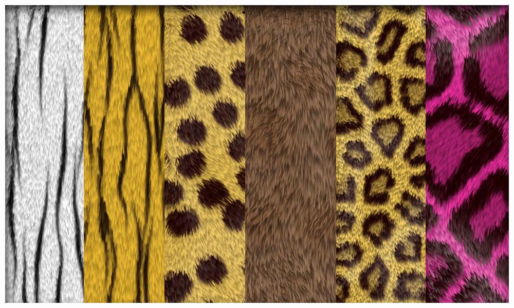 豹纹斑点、斑马条纹动物皮毛、皮草纹理PS笔刷(图片素材)