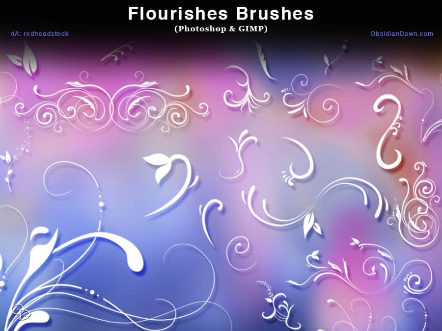 漂亮优雅的植物艺术花纹Photoshop笔刷下载 植物花纹笔刷  adornment brushes flowers brushes