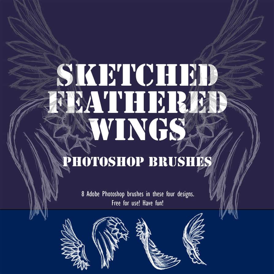 8种手绘涂鸦天使翅膀Photoshop笔刷下载 涂鸦翅膀笔刷 手绘翅膀笔刷 天使翅膀笔刷  wings brushes %e6%b6%82%e9%b8%a6%e7%ac%94%e5%88%b7