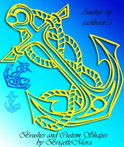 漂亮的船锚纹饰、纹身图案Photoshop笔刷+自定义形状下载