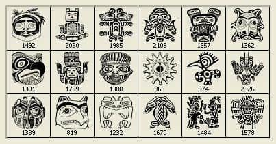 18种高分辨部落图腾Photoshop民族纹饰笔刷